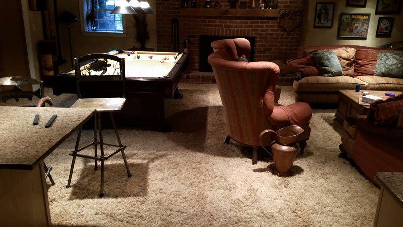 Carpet Living Room Pool Table